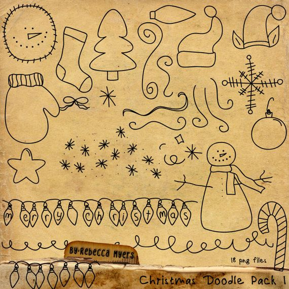 Digital Scrapbook Christmas Doodles Pack 1 by RebeccaMyersDesigns, $3.00