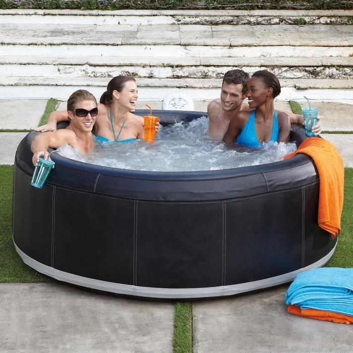 A movable backyard hot tub at a fraction of the price of a built-in spa!Hot Tubs Backyards, Fractions, Movable Backyards, Builtin, Spas, Portable Spa, Backyards Hot Tubs, Hot Tubs In Backyards, Built In Spa