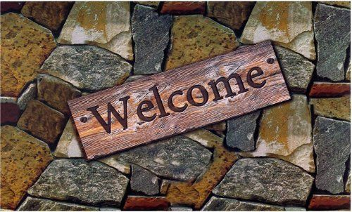 Achim Home Furnishings Outdoor Rubber Mat, Welcome Quarry Stones New