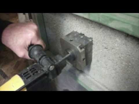 Drilling a square hole using a Quadcut Square Hole Cutter - cordless Dewalt drill - YouTube