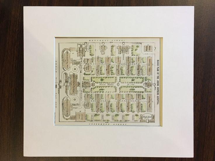 Block Plan, Johns Hopkins Hospital, Baltimore, MD, 1880, Original