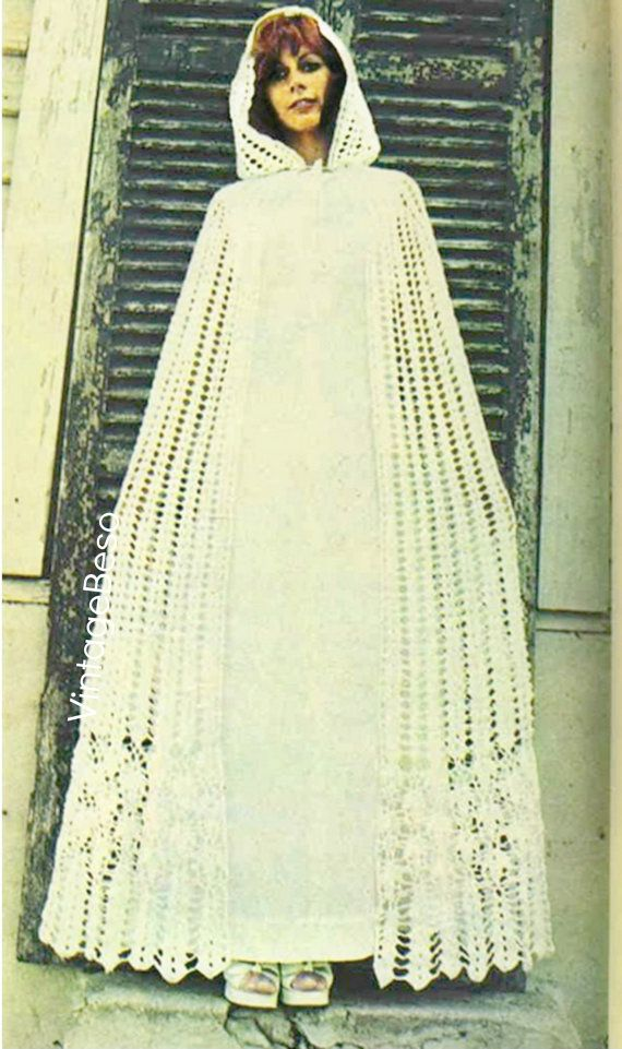 1970s Vintage CROCHET Pattern ❤️ Cloak  Retro Bridal Cloak  Being absolutely unique gorgeous and lovely goes hand-in-hand with this super feminine