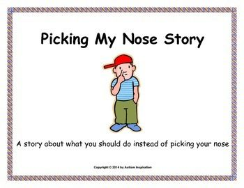 Social Stories are beneficial for helping children with an autism spectrum disorder be able to learn how to deal with a particular challenge. This story addresses the problem of children who pick their noses.  This is good for the special education classroom and for younger grades.