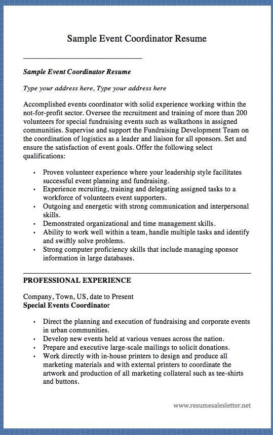 event coordinator resume 59 best best sales resume templates