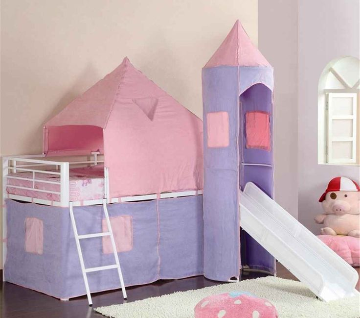 Coaster Pink Twin Loft Beds with Close Styled Castle