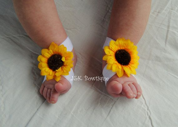 Sunflower Baby Barefoot Sandals Pair