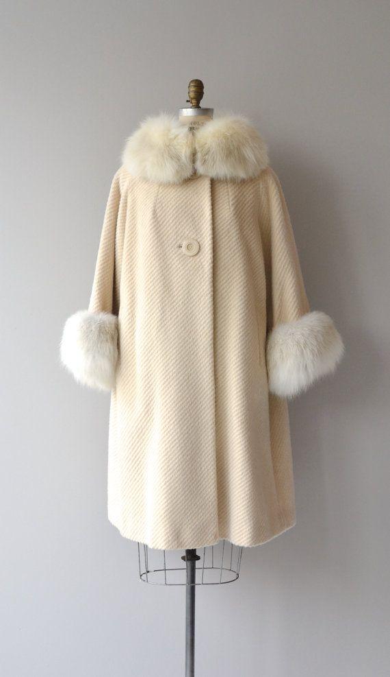 Finlandia fox fur coat vintage 1960s coat 60s wool by DearGolden