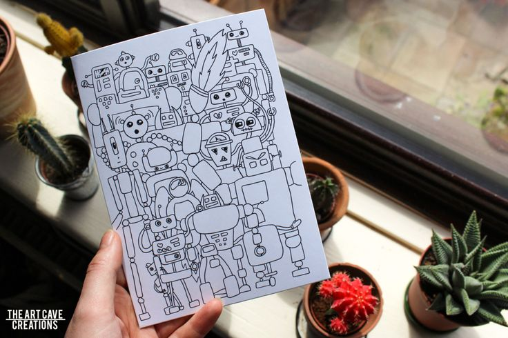 Greetings Card // Black and White Robot Party Illustration // A5 + Envelope Included // Birthday Card // Pen Pal by TheArtCaveCreations on Etsy