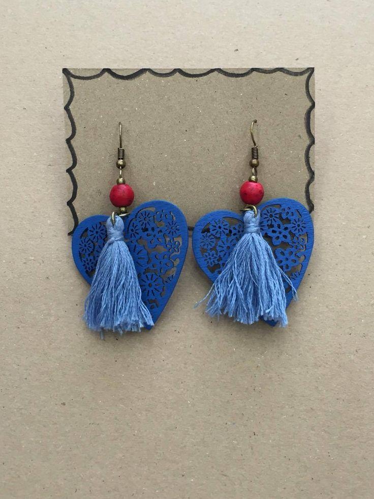 Heart Tassel Earrings, earrings, gift for her, bohemian earrings