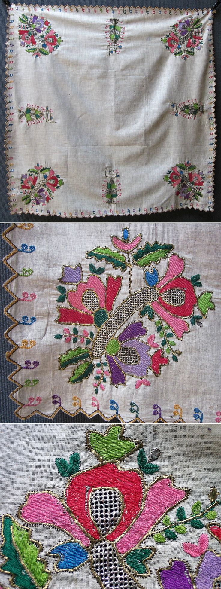 A 'çevre' (square kerchief; a decorative accessory, for the interior). From the Aegean region, urban style, 1900-1925. The embroidery is 'two-sided' (identical on both sides) and executed with silk, and 'gold' & silver strips (in 'tel kırma'-technique) on cloth. Design: stylized floral motifs. (Inv.nr. brdw011 - Kavak Collection of Anatolian Textiles -Antwerpen/Belgium).