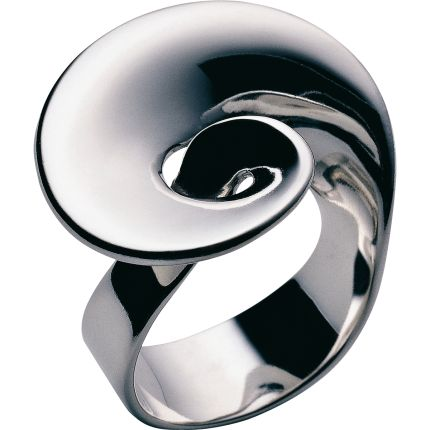 Continuity Ring by Georg Jensen: Made of sterling silver with a heart and an infinity symbol incorporated into the flowing design.
