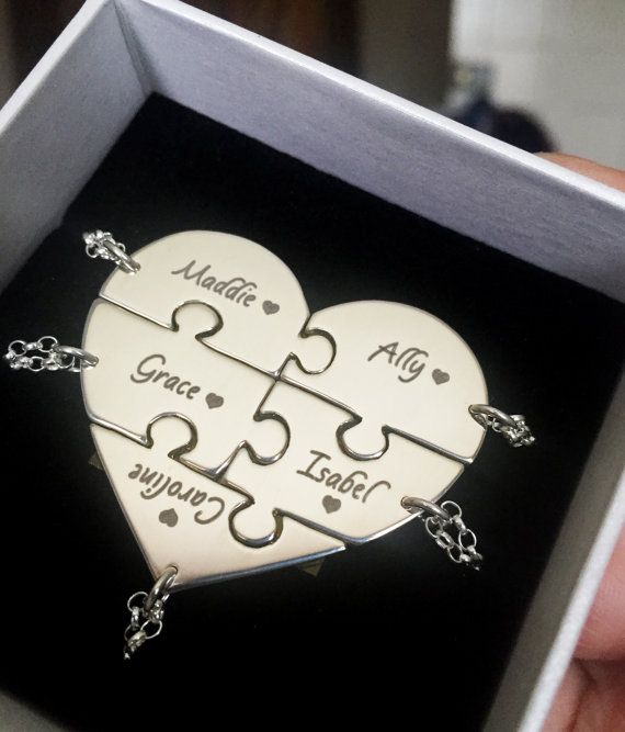 Gorgeous Personalized Bridesmaid Necklaces. 5 Piece Heart Puzzle Necklace Set in Sterling Silver by Hannah J Jewellery.
