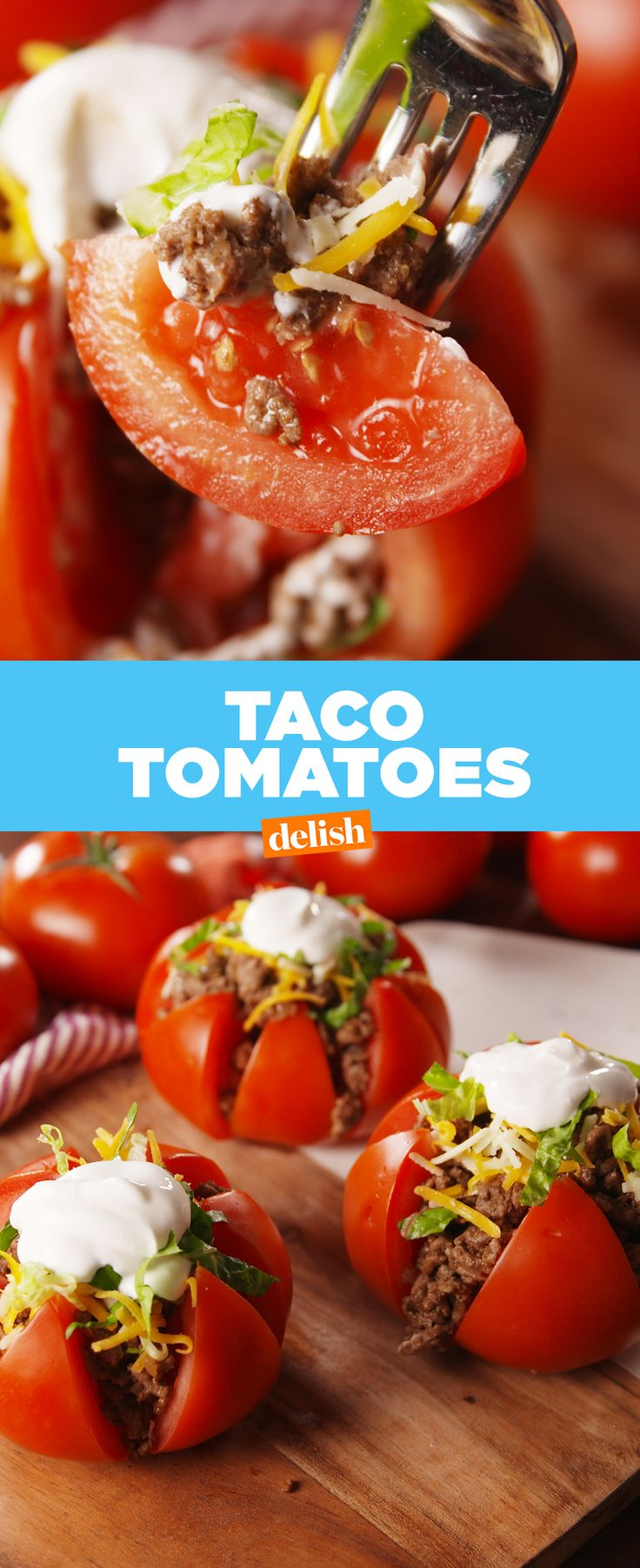 Taco Tomatoes make cutting carbs so easy. Get the recipe at Delish.com.