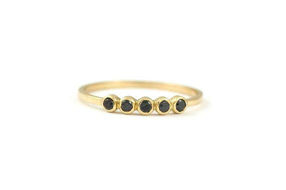 5 Black Diamond Ring 5 Diamond Ring Gold Bezel Diamond Ring