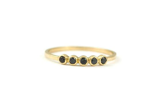 5 Black Diamond Ring 5 Diamond Ring Gold Bezel Diamond Ring