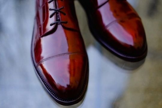 """Dandy Shoe Care - """"Gorgeous Cherry"""" by Dandy Shoe Care. Every gentleman must have in his Footwear Collection a pair of shoes of this color. Double tap and contact me please to order one Patina like this! #gorgeous #cherry #bestcolor #shoes #shoemaker #japanese #scarpe #shoeporn #shine #blood #art #streetphotography #details #style #news #bespoke"""