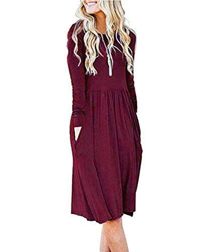 540a9f462b07 Yutila Damen Kleider Langarm Plissee Casual Herbst Kleider mit ...