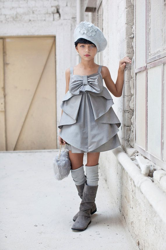 Girl Party Dress , Silver Bow Dress , Special Occasion Dress