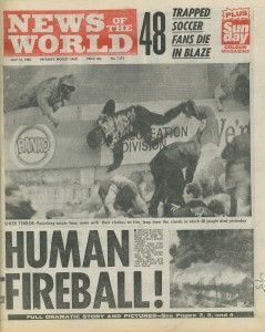 1985 The Bradford City stadium fire was the worst fire disaster in the history of football. It occurred during a league match in front of record numbers of spectators, on Saturday, 11 May , killing 56 and injuring at least 265.