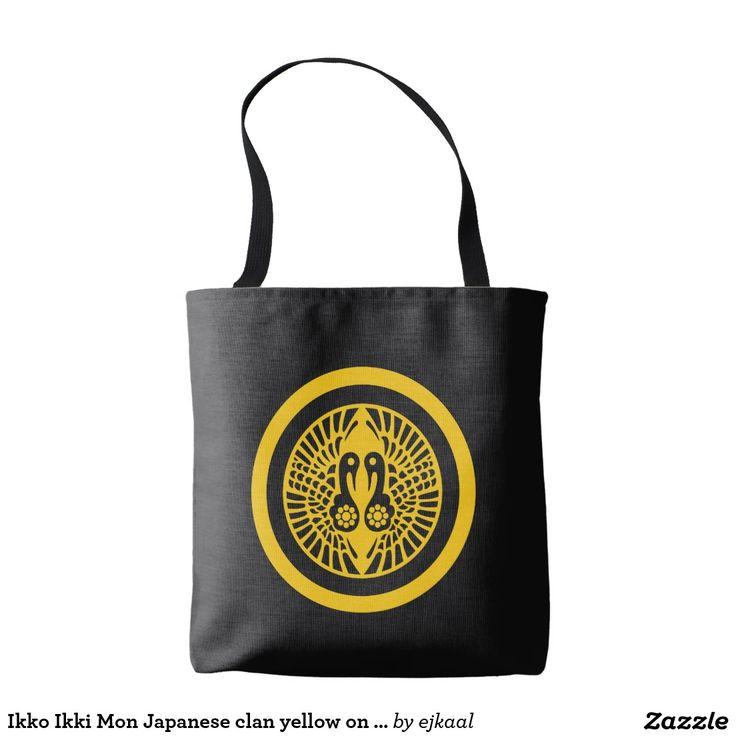 Ikko Ikki Mon Japanese clan yellow on black Tote Bag