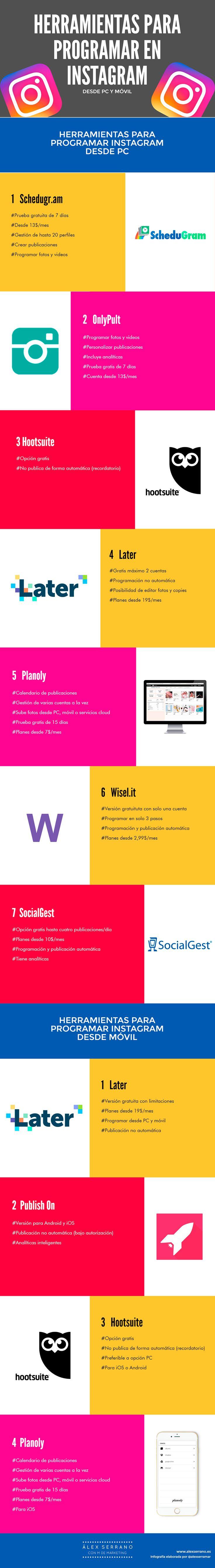 Herramientas para programar en instagram en PC y Móvil. Infografía en español. #CommunityManager