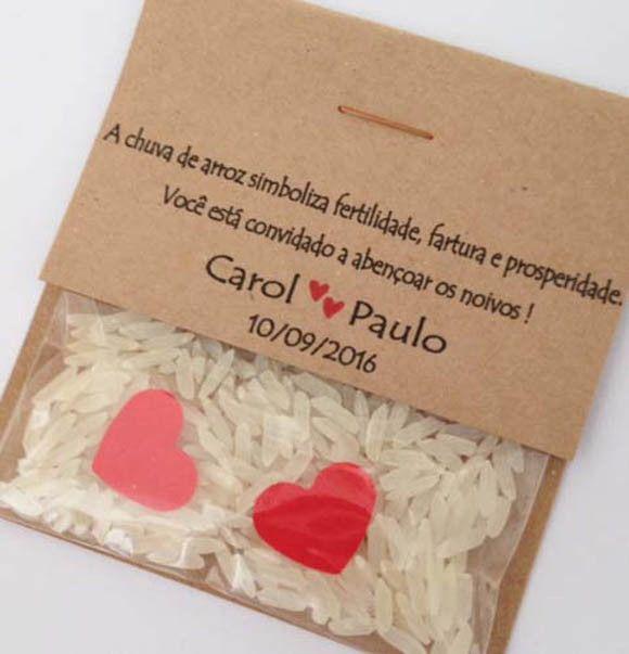 Embalagem personalizada para chuva de arroz Em papel kraft Saquinho com arroz natural Medidas - 7 x 8 cm *** Produto original - confeccionado em nosso Estúdio ***