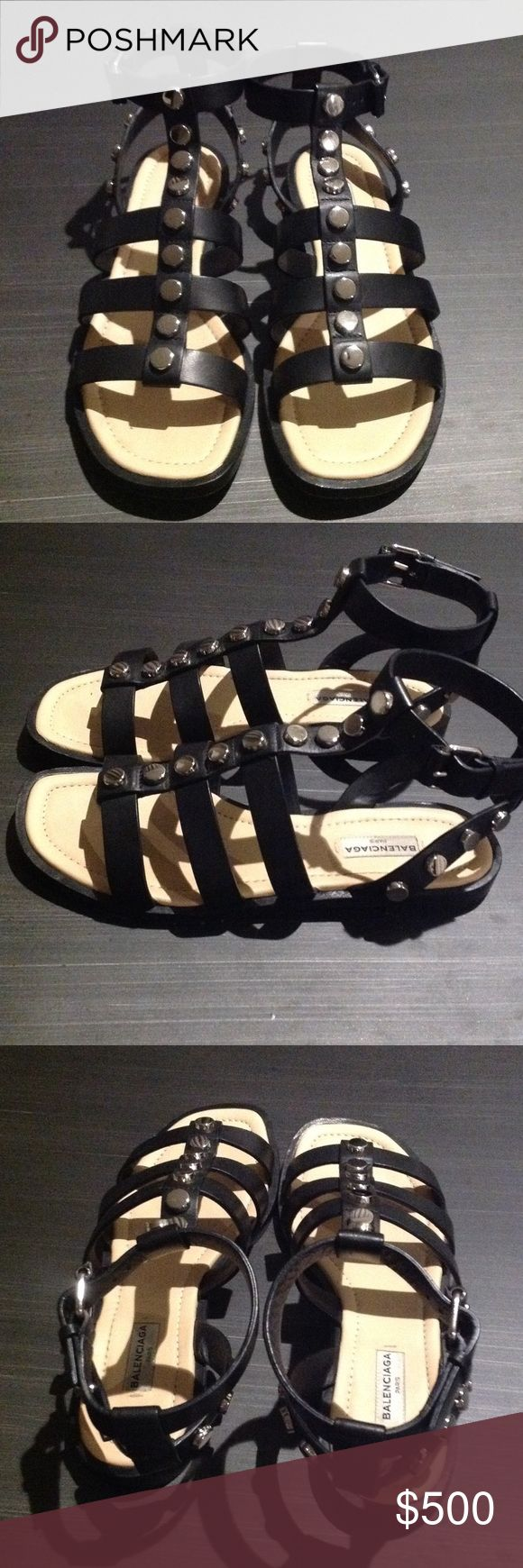 ⚡️FLASH SALE! Balenciaga black studded sandals Made in Italy.  Trendy and well made sandals with adjustable ankle strap with buckle.  Metal is rhodium, so like a dark gunmetal.  Size is 37.5.  Fits like 7.5.  Worn only once Balenciaga Shoes Sandals