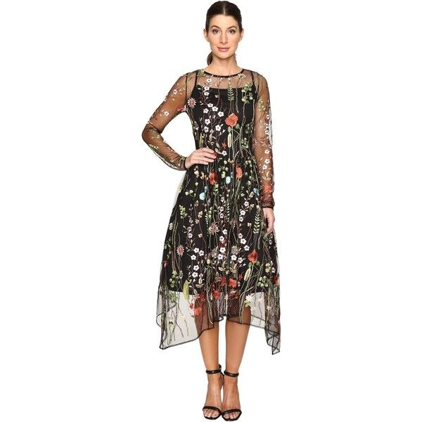 Eva by Eva Franco Stacy Dress (Black Garden) Women's Dress ($90) ❤ liked on Polyvore featuring dresses, multi, sheer embroidered dress, floral dresses, long sleeve floral dress, floral embroidered dress and fit and flare dress