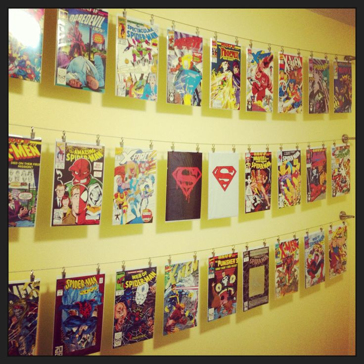 "Comic book collection - laundry room ""clothesline"""