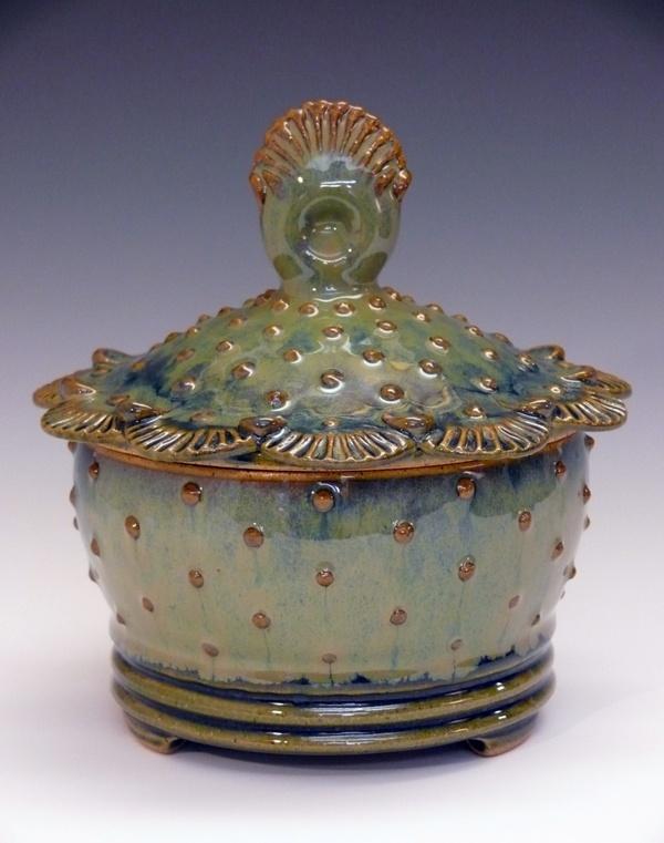 Yvonne Brown Pottery - shells & dots jar