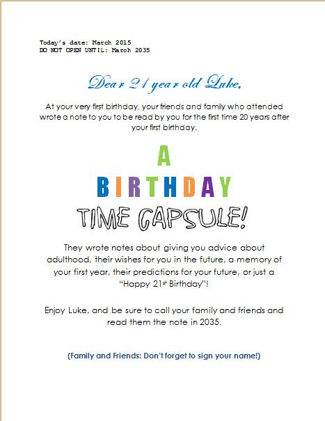 Best  Time Capsule Birthday Ideas On   First Birthday