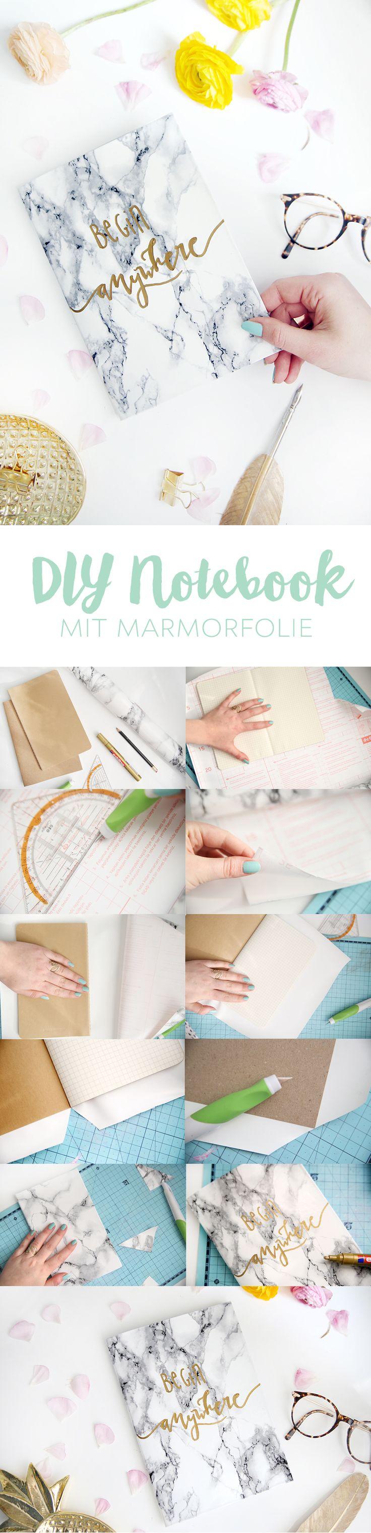 Kreative DIY-Idee zum Selbermachen: Notizbücher mit Marmor-Folie bekleben