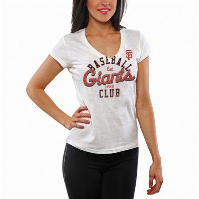 San Francisco Giants Ladies Designated Hitter V-Neck Slim Fit T-Shirt - White