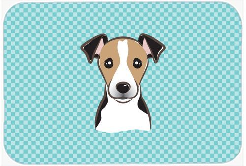 Checkerboard Blue Jack Russell Terrier Mouse Pad - Hot Pad or Trivet BB1199MP #artwork #artworks