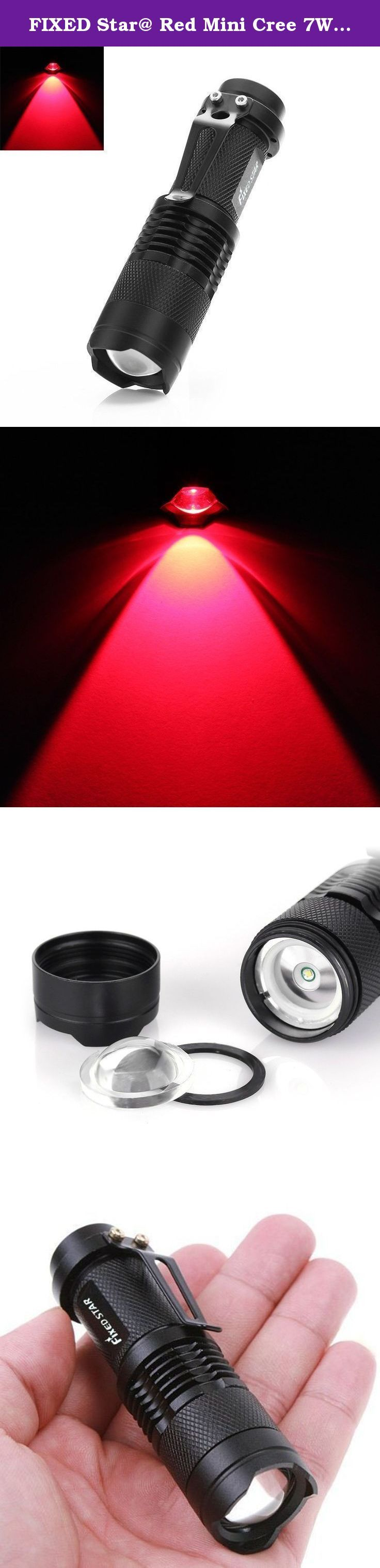 FIXED Star@ Red Mini Cree 7W 300LM Adjustable Focus Zoomable Focusing LED Flashlight Torch Cree Xm-l Sk68 Q5 LED 14500 Flashlight Torch. 3-Mode High -- Low -- Strobe Flashlight 1. Bulb: Q5 LED 2. Light Color: Red 3. Max output: 300 lumens 4. Reflector: Convex Lens 5. Material: Aluminum alloy 6. Size: 90mm × 25mm × 20mm 7. Net Weight: About 65g 8. Switch Location: Tail cap 9. Zoom: Yes 10. Water Resistant: Yes, Please do not submerge the flashlight into water Power Source 1 × 14500 battery…