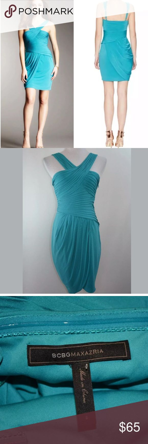 """BCBG MAX AZRIA Cock Tail Formal Dress Size Small BCBG MAX AZRIA Cocktail Formal Party Dress   Feature: Hook And Zip up in the side closure  Size- Small Color- Blue Jade  New With Tag - Never Worn  APPROXIMATE MEASUREMENT ( lying flat) Armpit to Armpit & Bust-16"""" across Waist-12"""" across From armpit to Hem-27"""" BCBGMaxAzria Dresses"""
