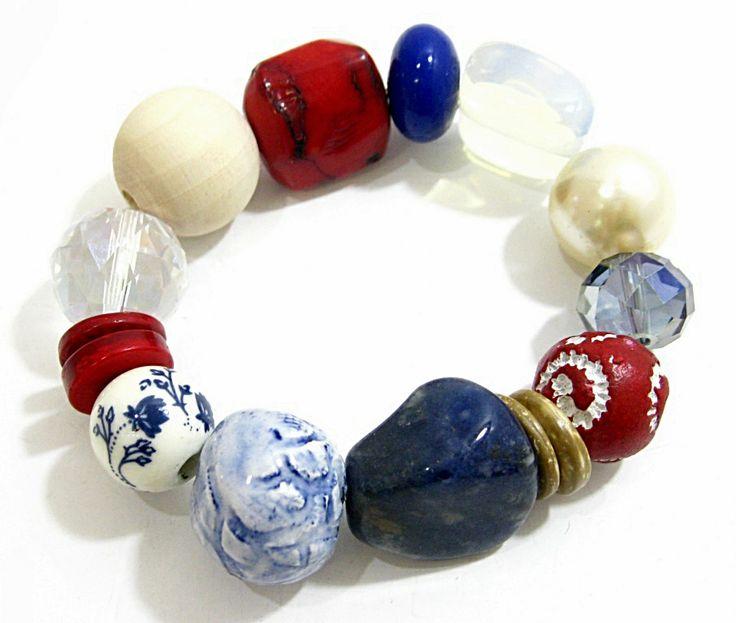 Nautical Ceramic & Stone Bracelet.  Semi-precious and handmade ceramic beads. www.marzipan.co.za
