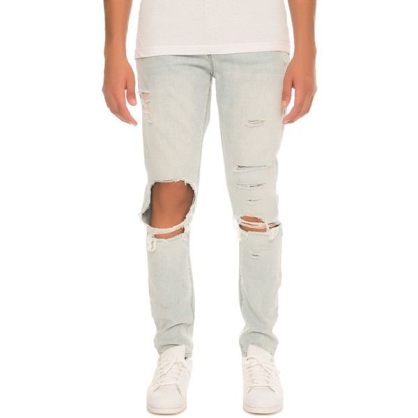 Elwood The Slim Tapered Denim Jeans in Light Indigo ($54) ❤ liked on Polyvore featuring men's fashion, men's clothing, men's jeans, light indigo, mens dark wash jeans, mens tapered jeans, mens slim fit jeans, mens slim tapered jeans and mens slim cut jeans