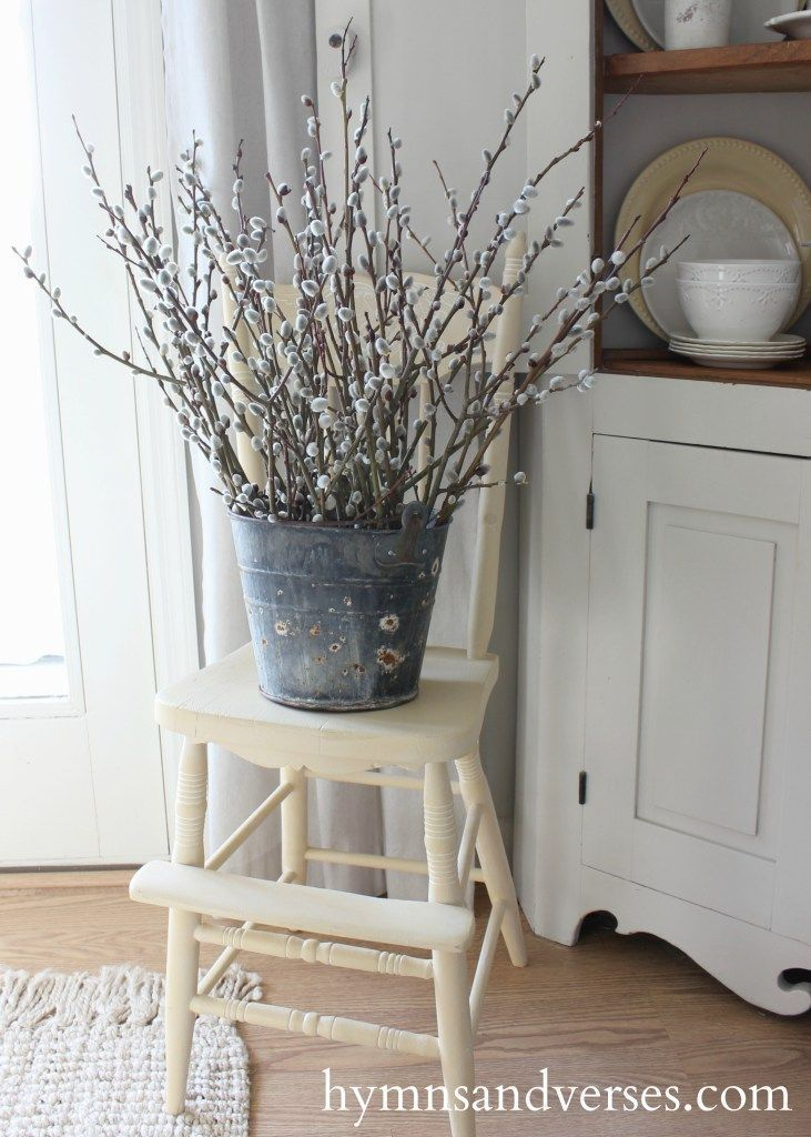 Willow Branches in Rusty Bucket - Farmhouse / Cottage Style