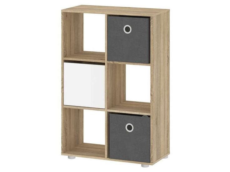 Module 6 cases DIVIDE coloris chêne clair et blanc brillant - Vente de Bibliothèque et vitrine - Conforama