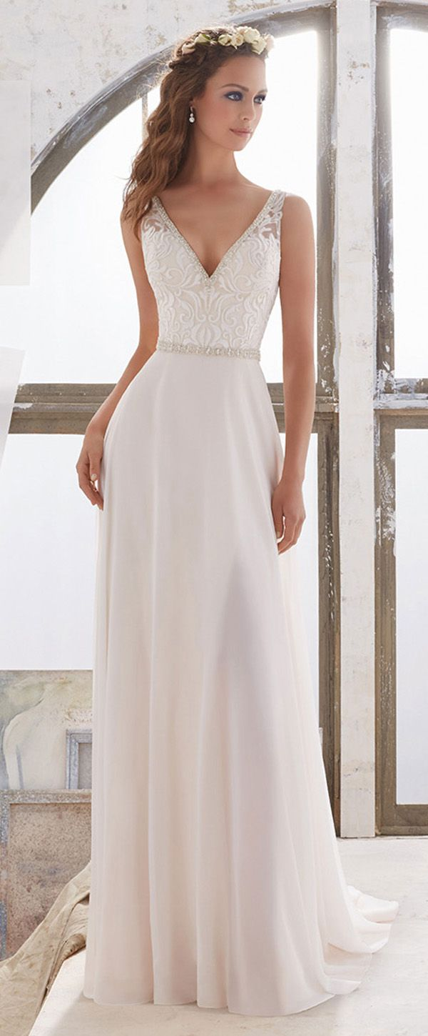 Flowing Tulle & Chiffon V-Neck A-Line Wedding Dresses With Embroidery