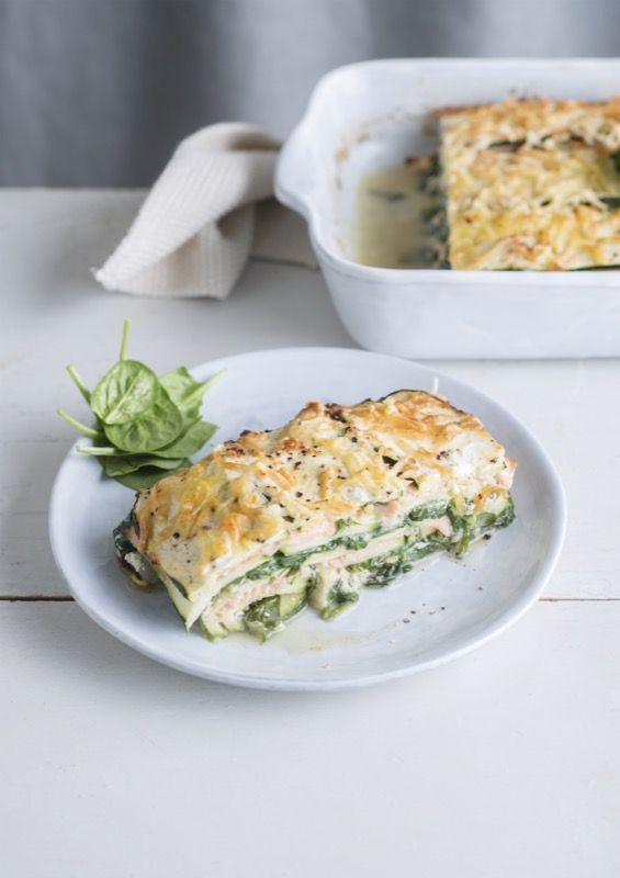Lasagne van courgette met gerookte zalm, ricotta en spinazie