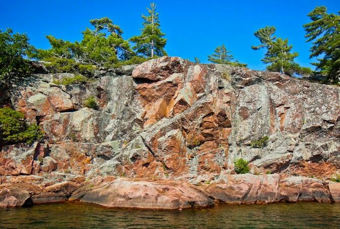 Canadian Shield rock. Beautiful blue sky. Amazing boating in the North Channel