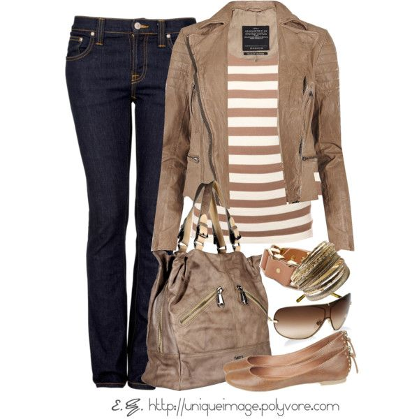 Fall Outfit: Casual Friday, Fall Fashion Outfits, Cute Outfits, Stripes Tops, Fall Outfits, Fashionista Trends, Jeans, Leather Jackets, Currently