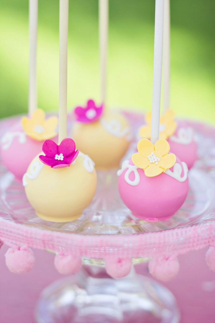 Yellow & Pink Flower Cake Pops