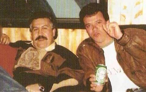 """Pablo Escobar, jefe del Cartel de Medellín, y su lugarteniente, Jhon Jairo Velásquez, conocido como """"Popeye"""" (der.)."""