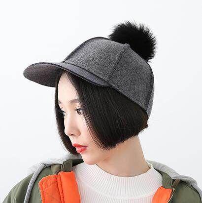 berretto da baseball delle donne con pom pom per l'autunno caldo cappello di lana