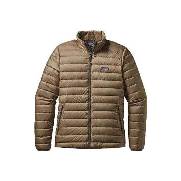 Men's Patagonia Down Sweater - Ash Tan Ski Jackets ($229) ❤ liked on Polyvore featuring men's fashion, men's clothing, men's activewear, men's activewear jackets, tan and mens activewear