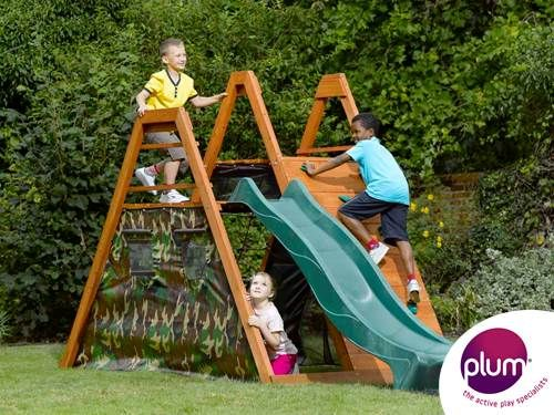 Plum® Climbing Pyramid Wooden Climbing Frame - Your little soldiers will have hours of outdoor fun and games with this climbing frame. Children will enjoy hours of outdoor play with the large double play deck with cargo net, ladder, rock wall with coloured hand and foot grips and 8ft wave slide. The camouflage fabric side panels create a large secret play den area inside the pyramid, great as a rendezvous point on secret missions or as kiddies HQ!
