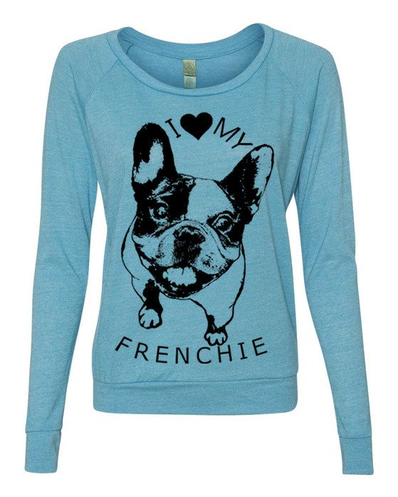 Womens FRENCHIE French Bulldog Screen Print Top door FreeBirdCloth